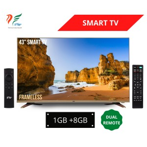 "iAir 43"" FRAMELESS SMART LED TV with DUAL Remote (1GB + 8GB)"